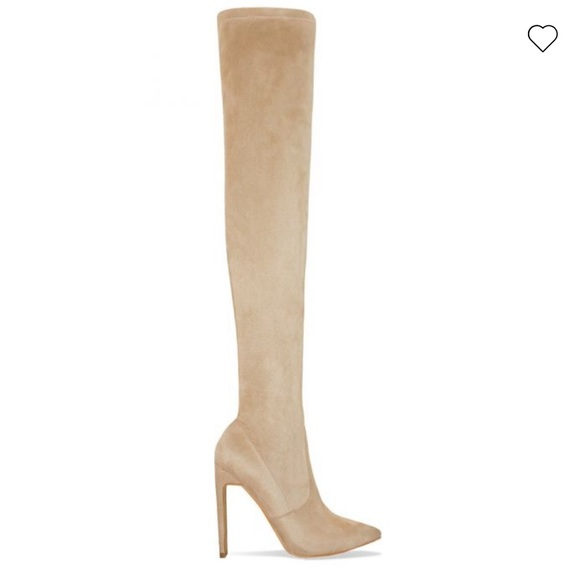 Shoes | Nude Suede Thigh High Boots
